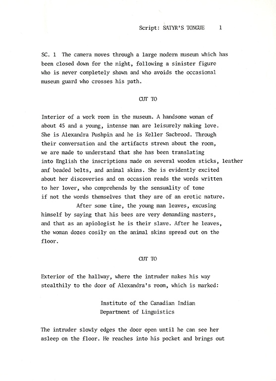 The first page for a script called Satyr's Tongue, a script that has never been made.