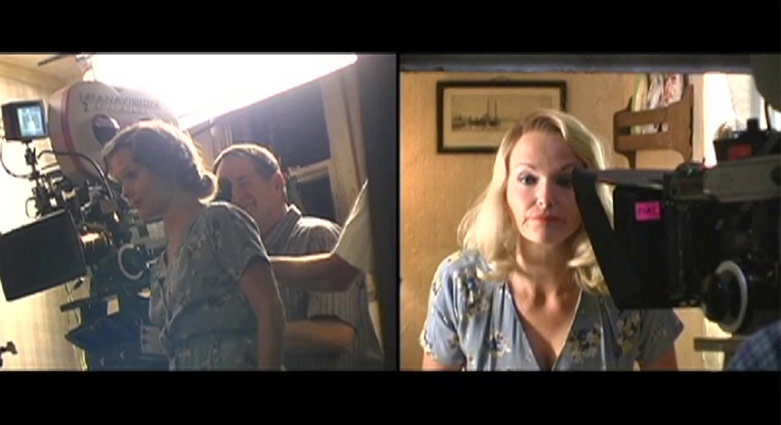 Split-screen featuring Miranda Richardson in each of the characters she played.
