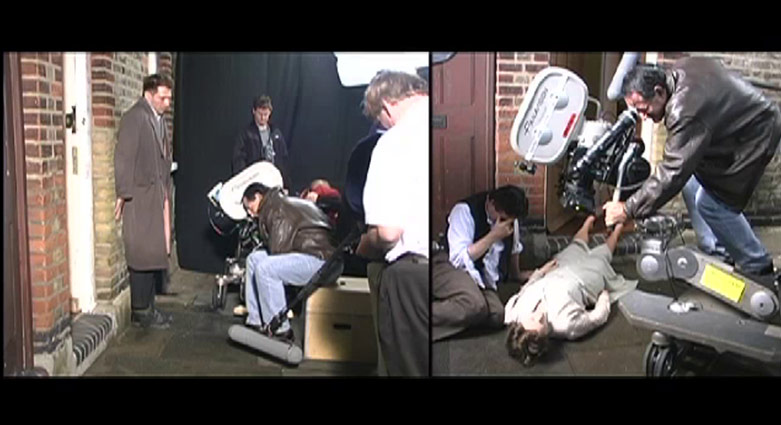 Split-screen that shows the filming of a scene from Spider.