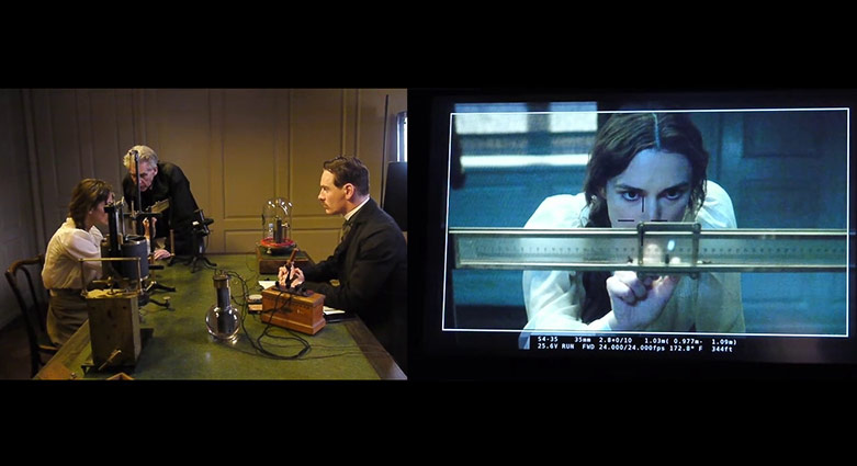 Split-screen showing Keira Knightley operating the psychogalvanometer.