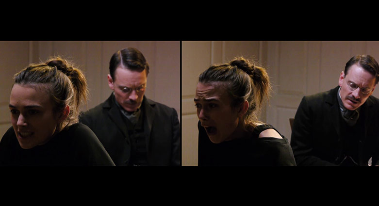Split-screen showing Michael Fassbender and Keira Knightley rehearsing for a scene.