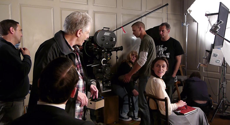 David Cronenberg and Keira Knightley on the set of A Dangerous Method.