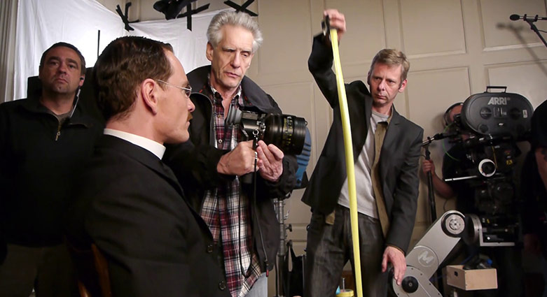 David Cronenberg and Michael Fassbender on the set of A Dangerous Method.