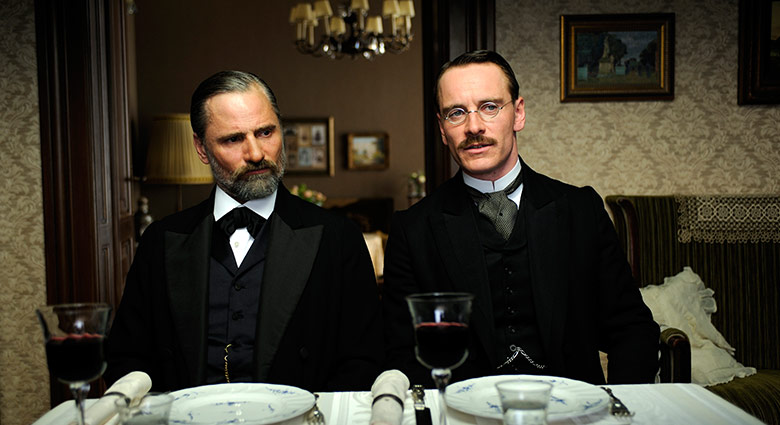 Dr. Sigmund Freud (Viggo Mortensen) and Dr. Carl Jung (Michael Fassbender) converse in this scene from A Dangerous Method.