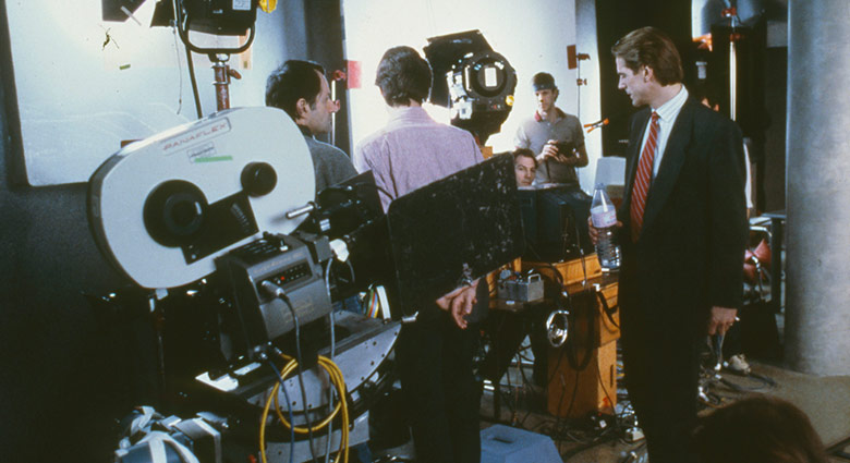 Jeremy Irons on set with the crew of Dead Ringers.