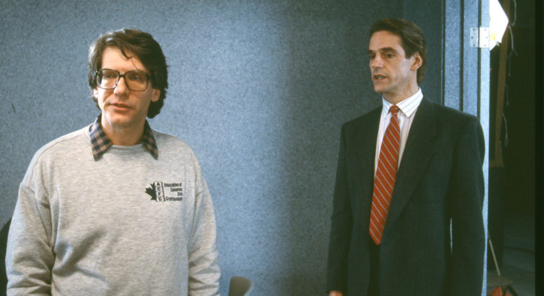 David Cronenberg and Jeremy Irons on the set of Dead Ringers.