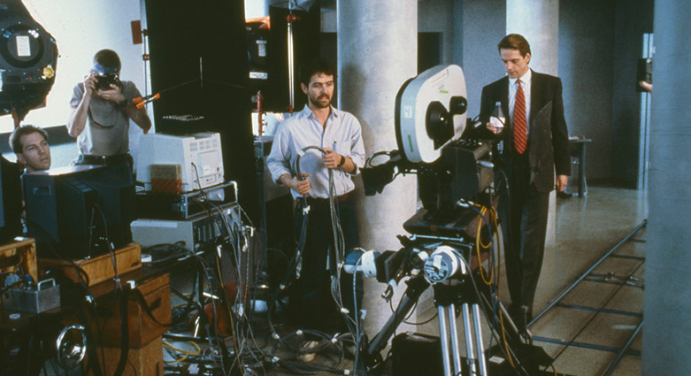 The track of the motion control camera used for Dead Ringers can be seen in this behind-the-scenes photos.