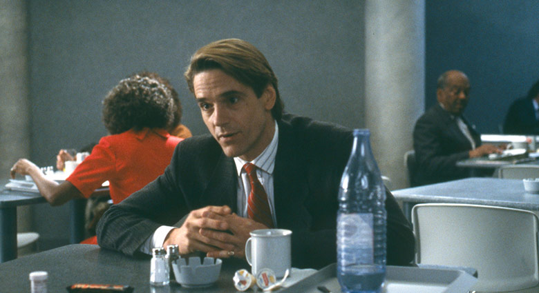 In this scene from Dead Ringers, Elliot Mantle (Jeremy Irons) speaks to his twin brother in the hospital cafeteria.