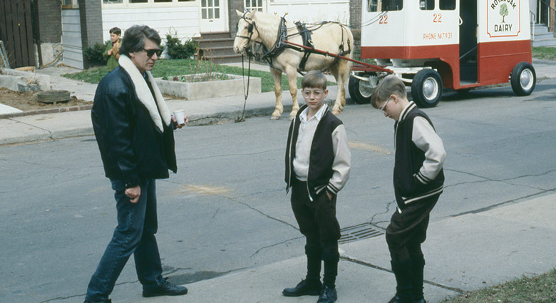 David Cronenberg on set with Nicholas and Jonathan Haley in this scene depicting the Mantle twins childhood.