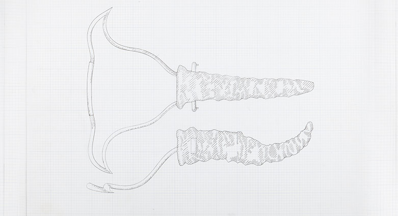 Sketches of the insertion tool for operating on Mutant Women, used as a prop in Dead Ringers.