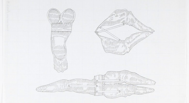 Sketches of three finger extension tools for operating on Mutant Women, used as a prop in Dead Ringers.