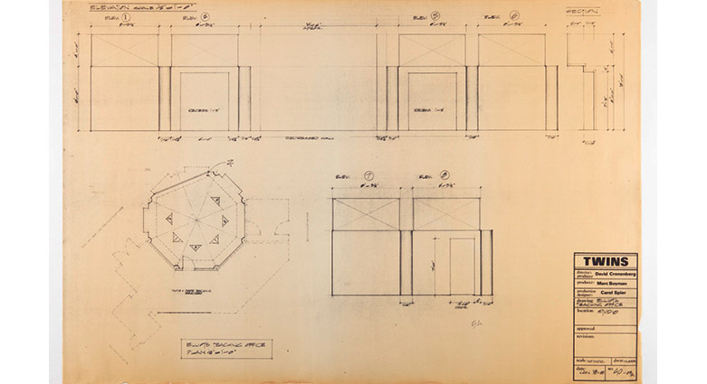 Set drawings of Beverly's teaching office for Dead Ringers.