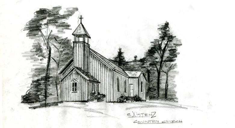 Set concept sketch for the country church in eXistenZ.