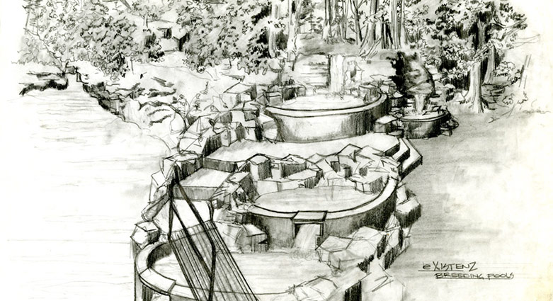 Set concept sketch for the breeding pools in eXistenZ.