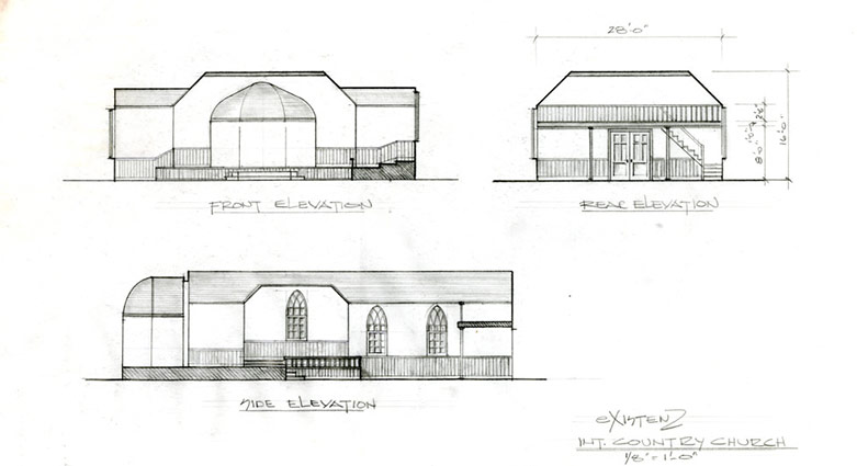 Elevation plans for the interior of the country church from eXistenZ.