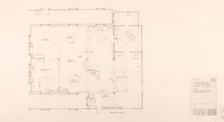 Drawings for the construction of Brundle's live-in laboratory.