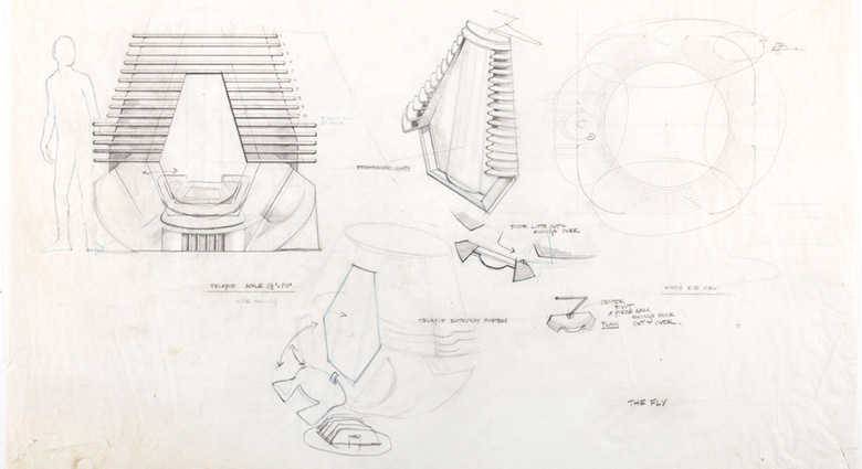 Drawings for the construction of Brundle's pod in The Fly.