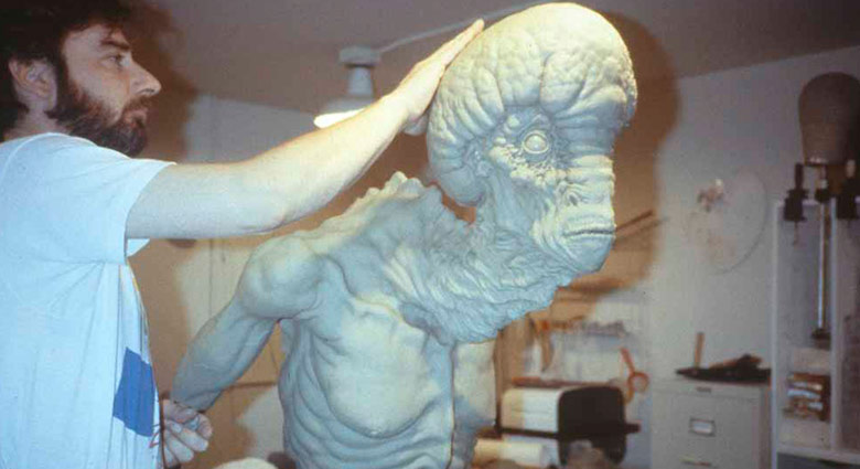 Behind-the-scenes image demonstrating Stephan Dupuis designing the mugwump for Naked Lunch.