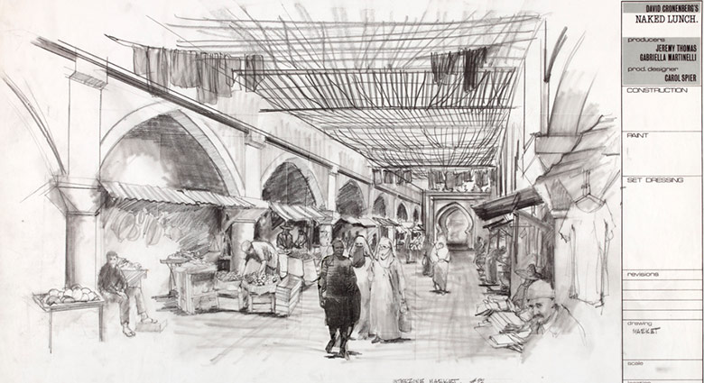Set drawings of the Interzone Market for the film Naked Lunch.