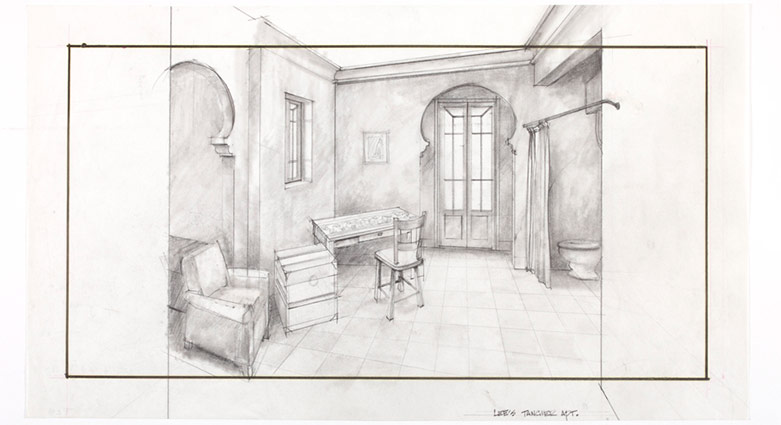 Set drawings of Lee's Tangier Apartment for the film Naked Lunch.