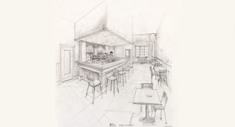 James McAteer's set concept sketch of the New York Bar for Naked Lunch.