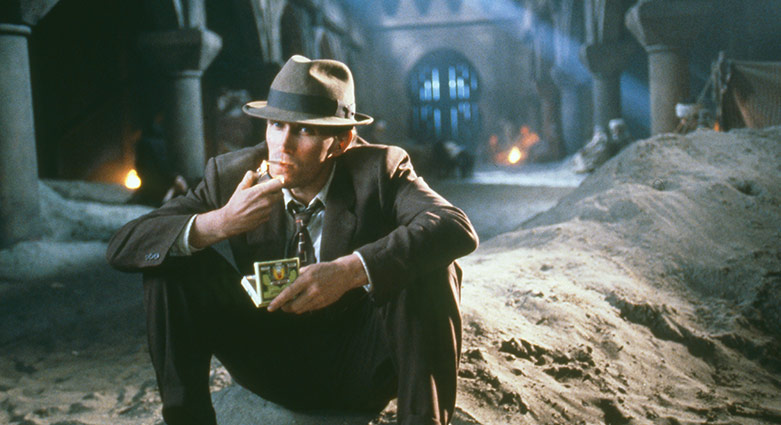 Bill Lee (Peter Weller) sur un plateau d'interzone pour Le festin nu.