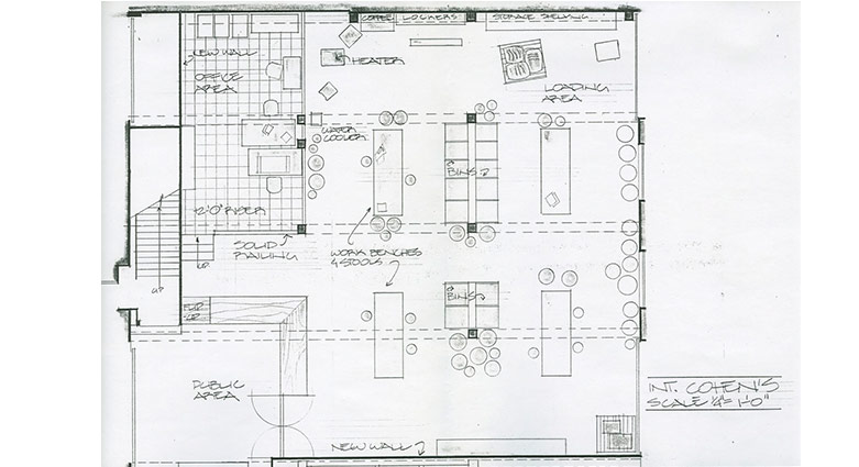 Set concept sketch for interior of Cohen's Exterminators for Naked Lunch.