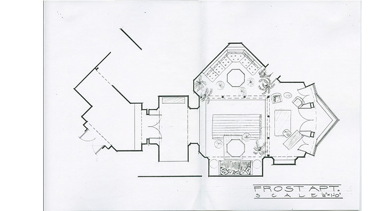 James McAteer's set concept sketch of Tom Frost's Apartment set of Naked Lunch.