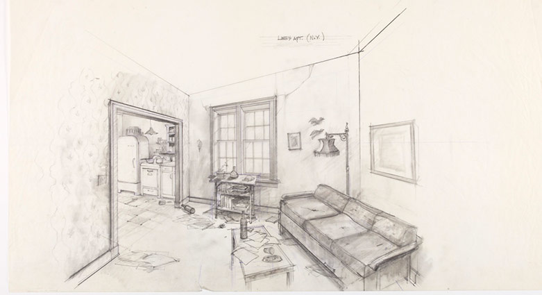Set concept sketch for Lee's New York apartment for Naked Lunch.
