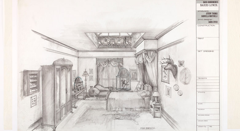 Set concept sketch of Yves' Bedroom for the film Naked Lunch.