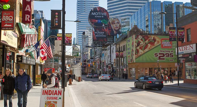 This section of Yonge St. near Dundas St. (as seen during the day) was featured in The Fly.