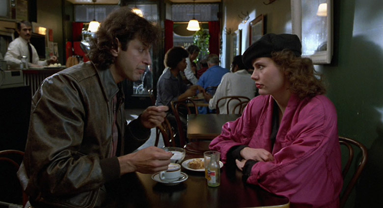 Veronica Quaife (Geena Davis) and Seth Brundle (Jeff Goldblum) visited a restaurant on Baldwin St. in this scene from The Fly.