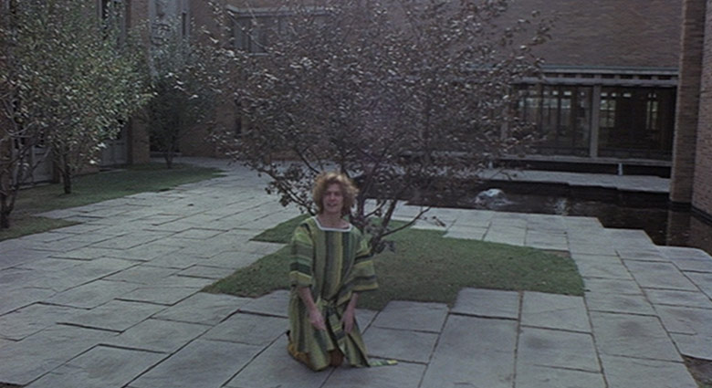 Adrian Tripod outside of the University of Toronto's Trinity College in this scene from Crimes of the Future.