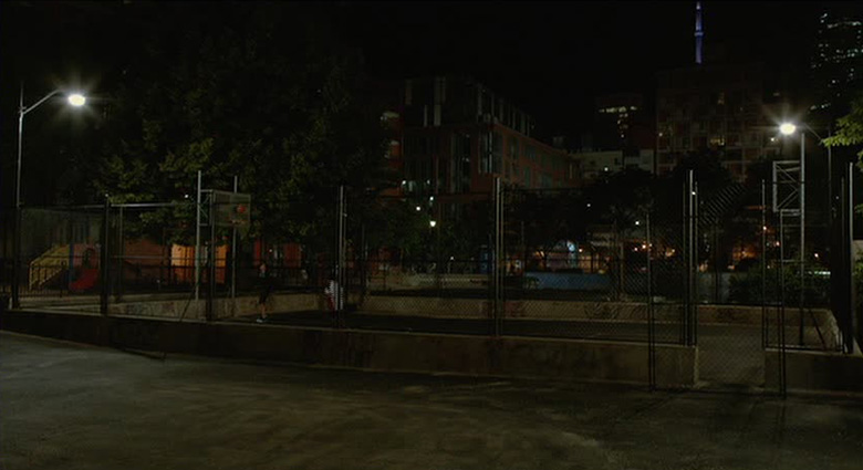 This basketball court near Toronto's St. Lawrence Market was fenced in to look like a Manhattan park in Cosmopolis.
