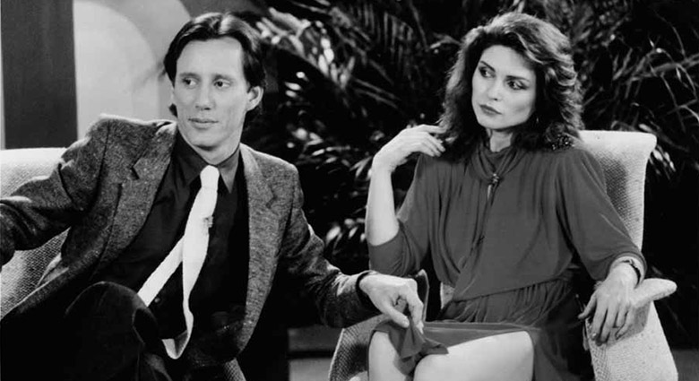 Max Renn (James Woods) and Nicki Brand (Deborah Harry) meet for the first time on a TV talk show in this scene from Videodrome.