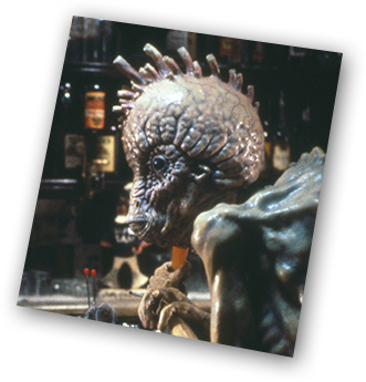 Bill Lee (Peter Weller) and a mugwump in a bar scene from Naked Lunch.